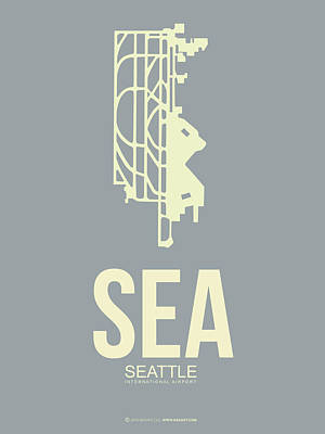 Seattle Mixed Media - Sea Seattle Airport Poster 3 by Naxart Studio