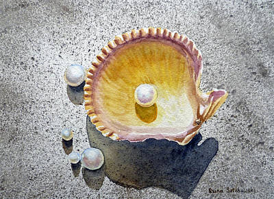 Seashell Painting - Sea Shell And Pearls by Irina Sztukowski