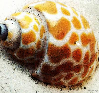 Sea Shells Digital Art - Sea Shell Beach Painting Art by Sharon Cummings
