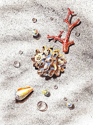Sea Shell Fine Art Painting - Sea Shells Pearls Water Drops And Coral by Irina Sztukowski