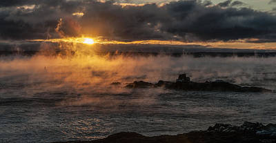 Quoddy Photograph - Sea Smoke Sunrise by Marty Saccone