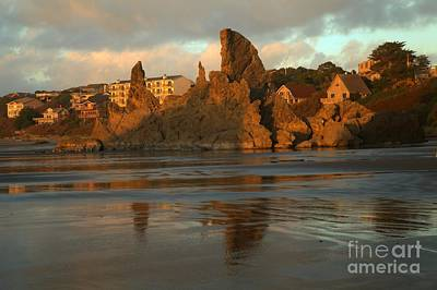 Sea Stacks And The City Print by Adam Jewell