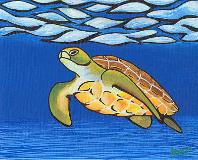 Green Sea Turtle Painting - Sea Turtle by Adam Johnson