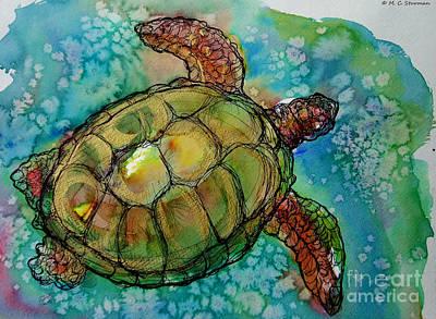 Hawaii Sea Turtle Painting - Sea Turtle Endangered Beauty by M C Sturman