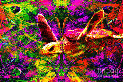 Turtle Digital Art - Sea Turtle In Abstract V1 by Wingsdomain Art and Photography