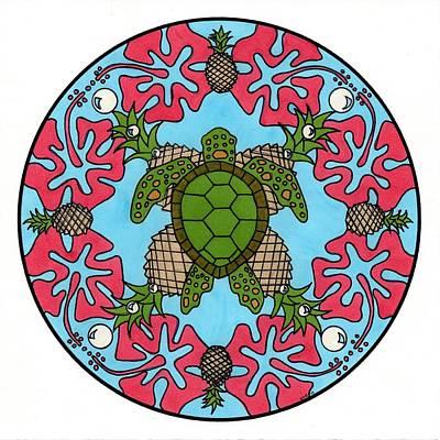 Pineapple Drawing - Sea Turtle Mandala by Kate Lawrance