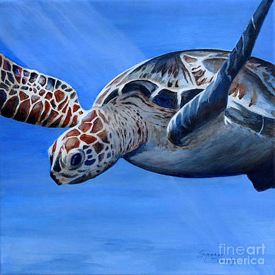 Hawaii Sea Turtle Painting - Sea Turtle Near Maui by Suzanne Schaefer