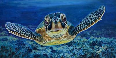 Under The Ocean Painting - Sea Turtle by Shirl Theis