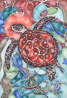 Dots Painting - Sea Turtle by Tamara Phillips