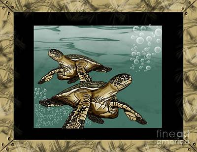 Turtle Mixed Media - Sea Turtles by Karen Sheltrown