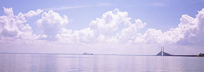 Sunshine Skyway Bridge Photograph - Sea With A Container Ship by Panoramic Images