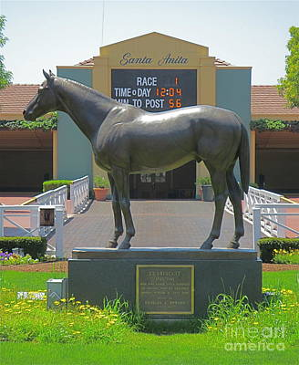 Seabiscuit Photograph - Seabiscuit Statue At Santa Anita Race Track  by Robert Birkenes