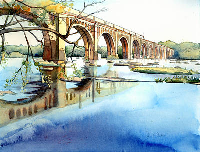Seaboard Bridge Crossing The James  Print by Jim Smither