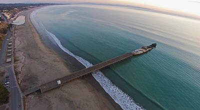 Aerial Photograph - Seacliff State Beach From Above by David Levy