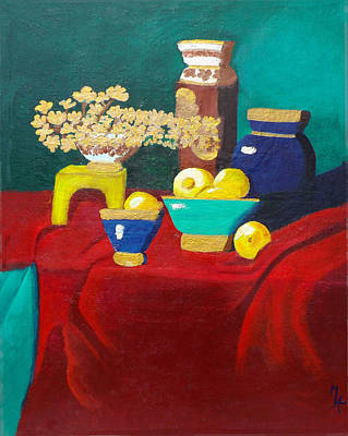 Table Cloth Painting - Seafoam Green On Red Velvet by Margaret Harmon