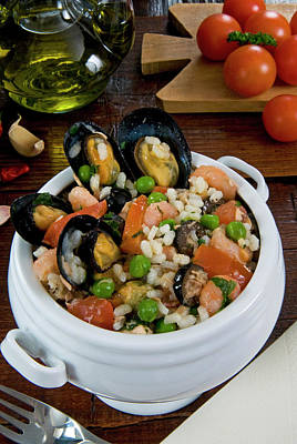 Seafood Rice With Mussels, Shrimps Print by Nico Tondini