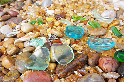 Seaglass Photograph - Seaglass Coastal Beach Rock Garden Agates by Baslee Troutman