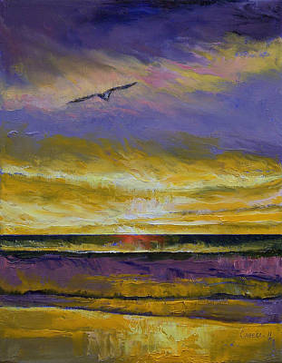 Abstract Seascape Painting - Seagull Sunset by Michael Creese