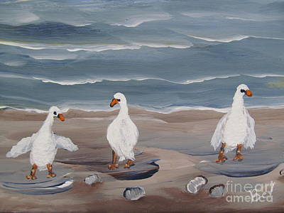 Seagulls At The Beach Print by Beverly Livingstone