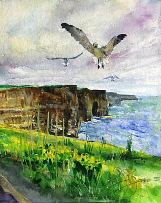 Seagulls At The Cliffs Of Moher Portrait Print by John D Benson