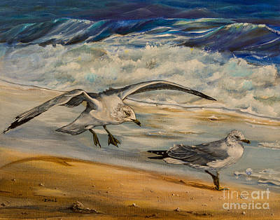 Seagulls On The Beach Original by Zina Stromberg