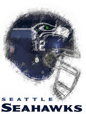 Helmet Digital Art - Seahawks 12 by Daniel Hagerman