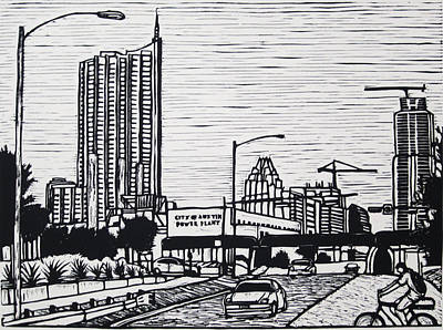 Lino Drawing - Seaholm by William Cauthern