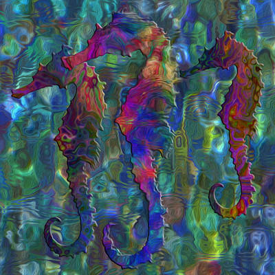 Seahorse Digital Art - Seahorse 2 by Jack Zulli
