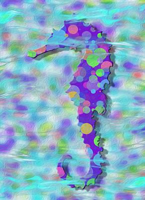 Colorful Tropical Fish Digital Art - Seahorse 3 by Jack Zulli