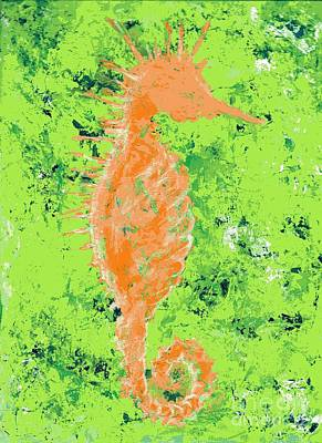 Seahorse Painting - Orange Seahorse by Anne Clark