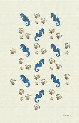 Seahorse Mixed Media - Seahorse And Shells Pattern Art by Christina Rollo
