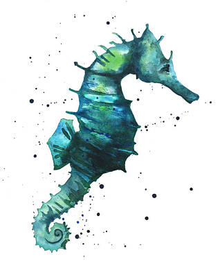 Watercolor Painting - Seahorse In Teal by Alison Fennell
