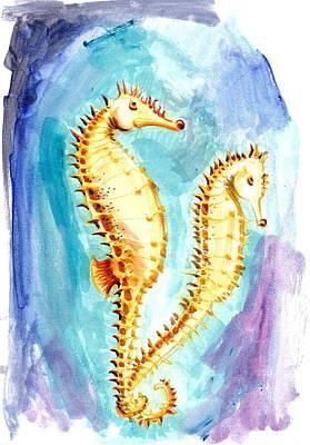 Seahorse Painting - Seahorse Love Marine Watercolor by Tiberiu Soos