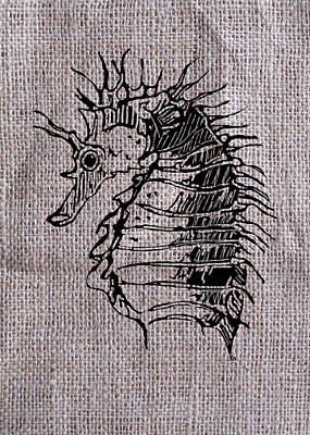 Seahorse Drawing - Seahorse On Burlap by Konni Jensen