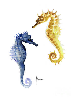 Seahorse Mixed Media - Seahorse Wall Decor Art Print Watercolor Painting by Joanna Szmerdt