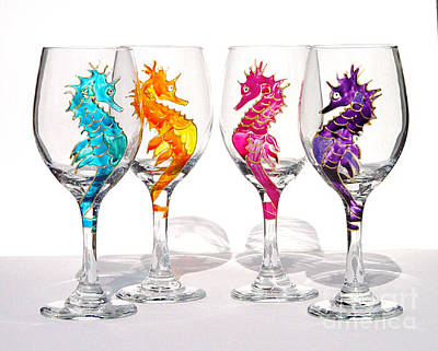 Hand Painted Wine Glass Glass Art - Seahorses by Pauline Ross