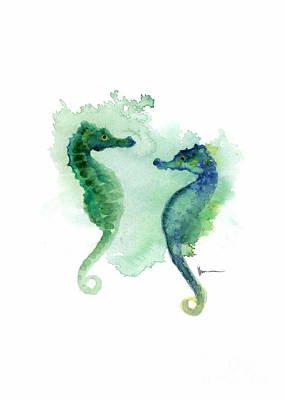 Seahorse Mixed Media - Seahorses Watercolor Art Print Painting Two Seahorses Artwork by Joanna Szmerdt