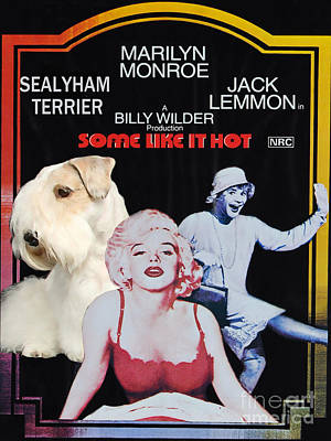 Sealyham Painting - Sealyham Terrier Art Canvas Print - Some Like It Hot Movie Poster by Sandra Sij