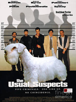 Sealyham Painting - Sealyham Terrier Art Canvas Print - The Usual Suspects Movie Poster by Sandra Sij