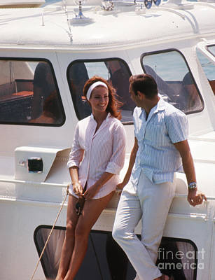 Disco Photograph - Sean Connery And Claudine Auger On The Disco Volante  by The Harrington Collection