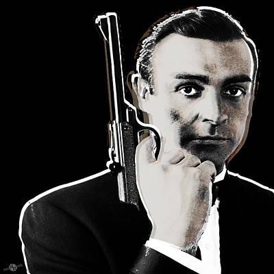 Sean Connery James Bond Square Print by Tony Rubino
