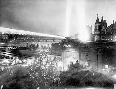 Searchlights Over London Print by Library Of Congress