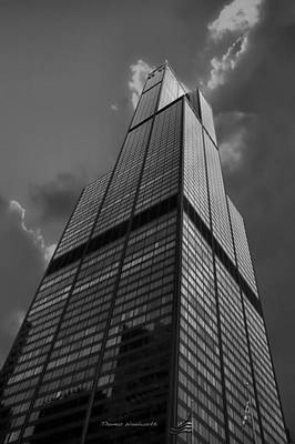 Sears Willis Tower Black And White 01 Print by Thomas Woolworth