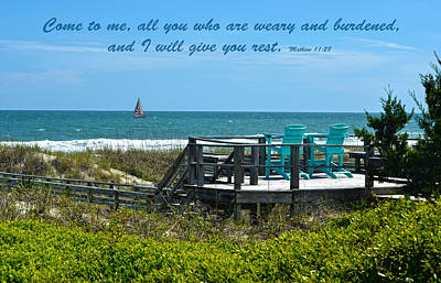 Seascape And Scripture Print by Sandi OReilly