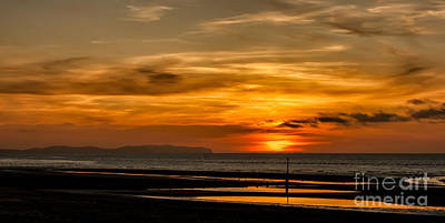 Great Britain Digital Art - Seascape Sunset 2 by Adrian Evans