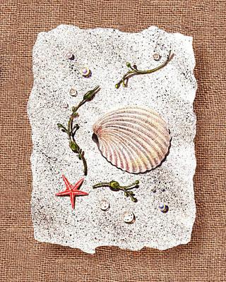 Seashells Painting - Seashell With Pearls Sea Star And Seaweed  by Irina Sztukowski