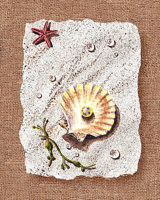 Sea Shell Fine Art Painting - Seashell With The Pearl Sea Star And Seaweed  by Irina Sztukowski