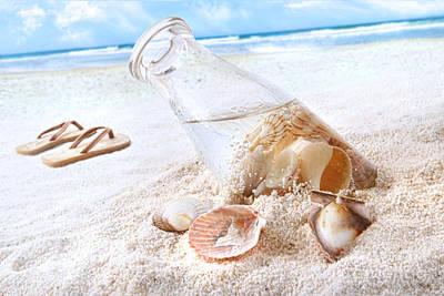 Seashells In A Bottle On The Beach Print by Sandra Cunningham