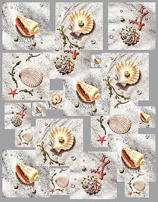 Yellow Painting - Seashells Pattern I by Irina Sztukowski