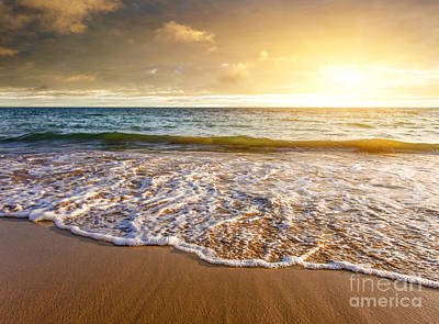 Seashore Sunset Print by Carlos Caetano